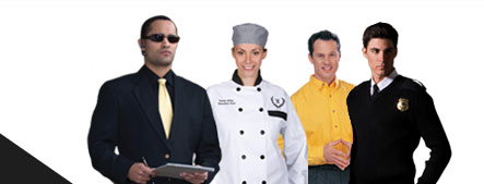 Hospitality, chef, casino and security workers in custom uniforms